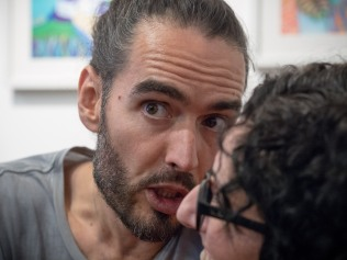 Sarah up close and personal with Russell Brand